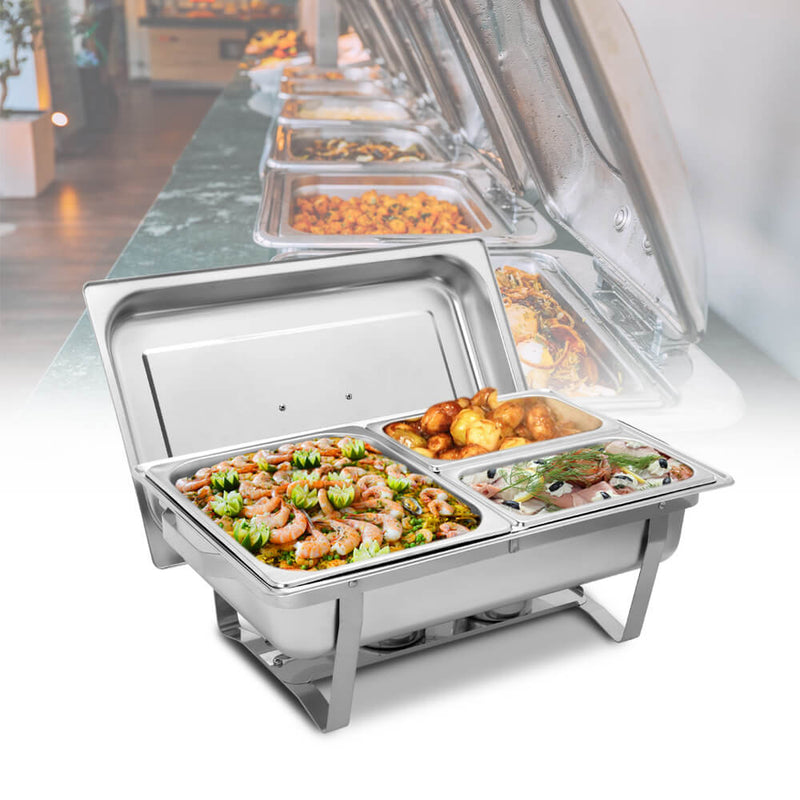 9L*2 Two Sets of Dishes 1*1/2 2*1/4 Chafing Dish Food Warmer Buffet Stove