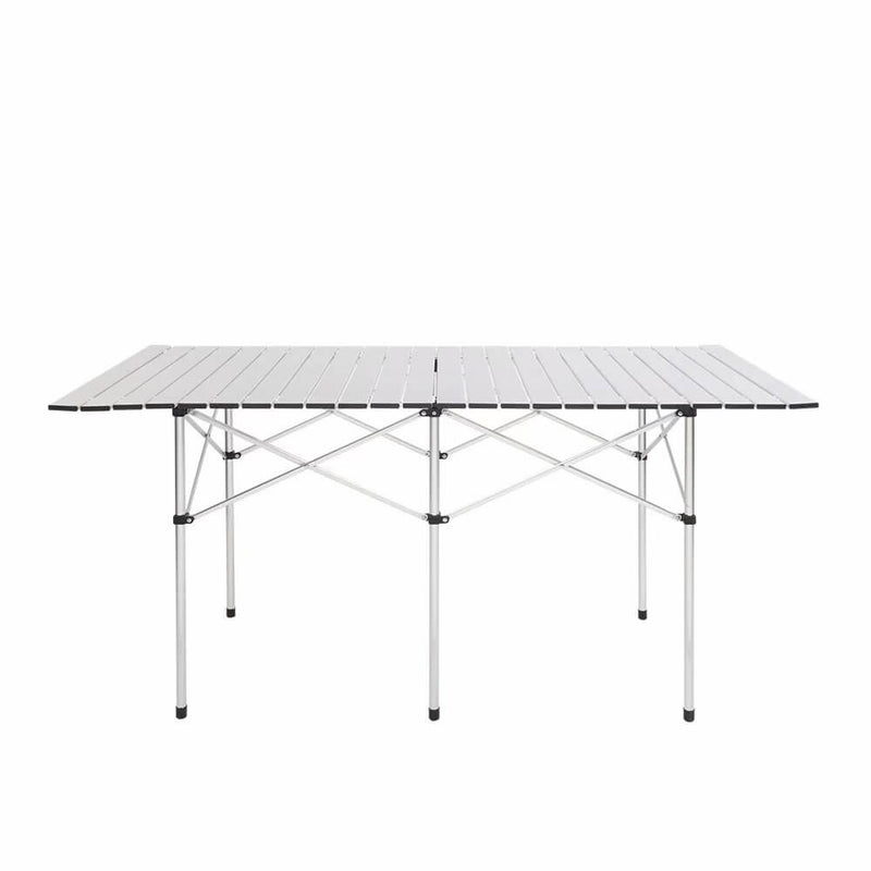 Portable Aluminum Folding Table Lightweight Outdoor Roll-Up Camping Picnic Table with Storage Bag, 55'' x 28'' x 8'', Silver