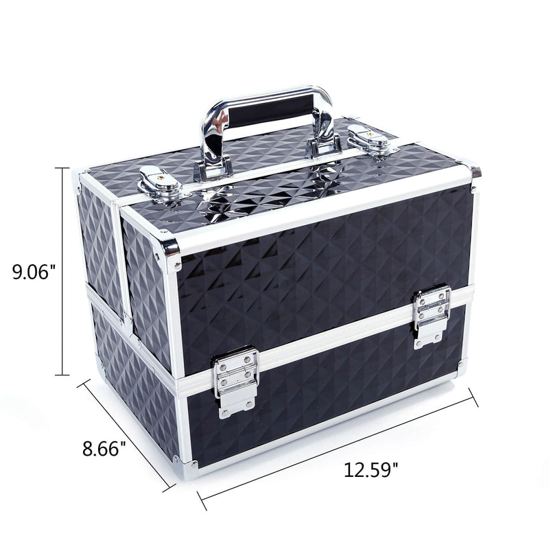 Multi-layer Professional Portable Aluminum Cosmetic Makeup Case Black