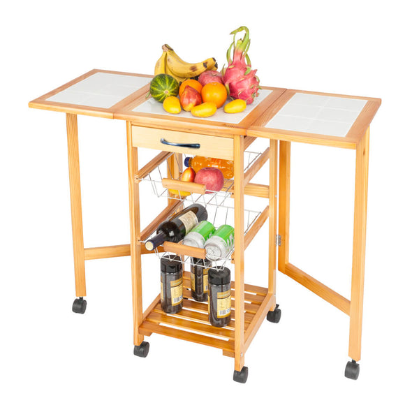 Portable Rolling Drop Leaf Kitchen Storage Trolley Cart Island Sapele Color