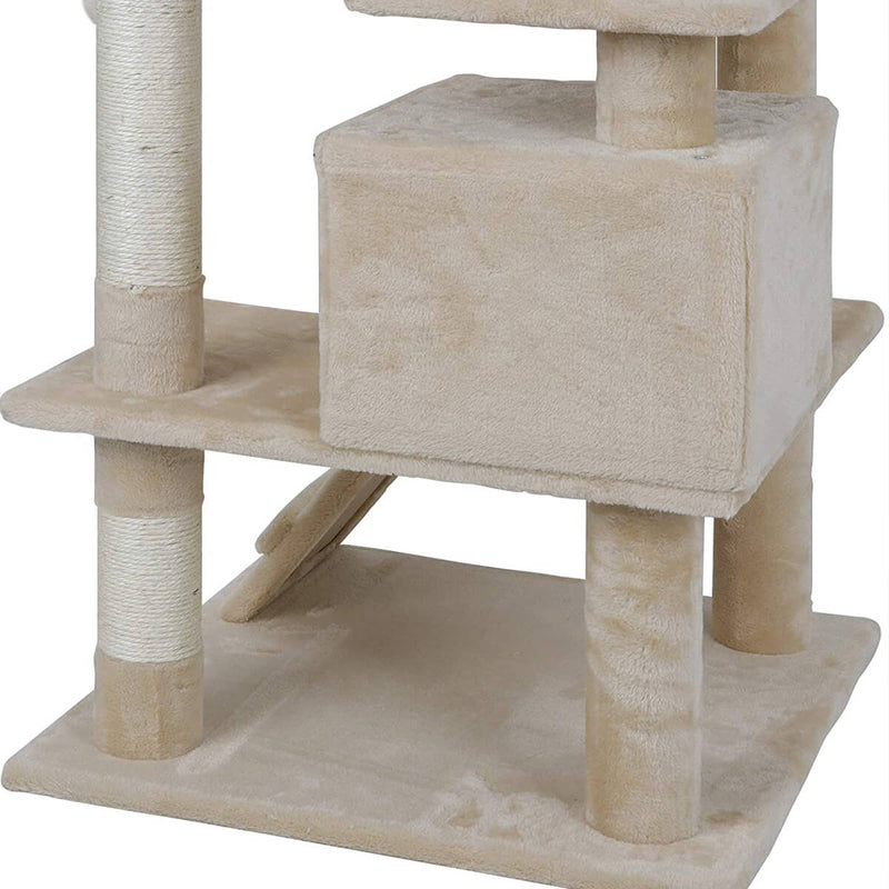53 Inches Multi-Level Cat Tree Stand House Kittens Activity Tower (Beige)