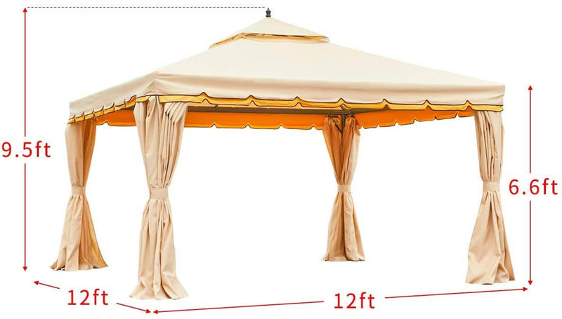 12' x 12' Canopy Gazebo Double Roof Patio Gazebo Steel Frame with Netting and Shade Curtains, Beige