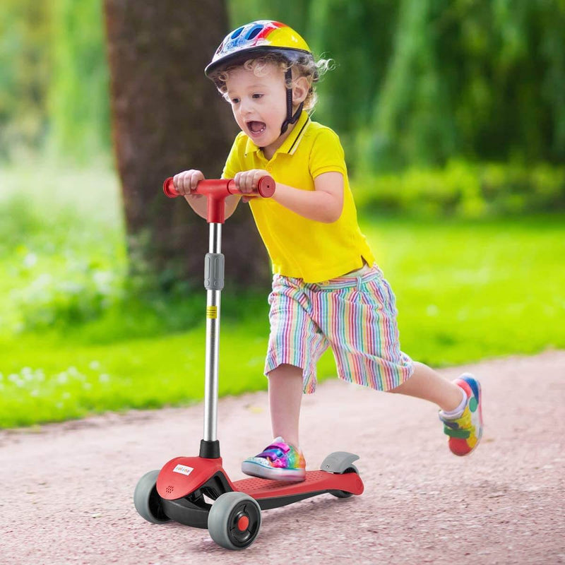 Scooter for Kids, LED Light-up Scooter, Kids Scooter with 3 Wheel LED Lights Red