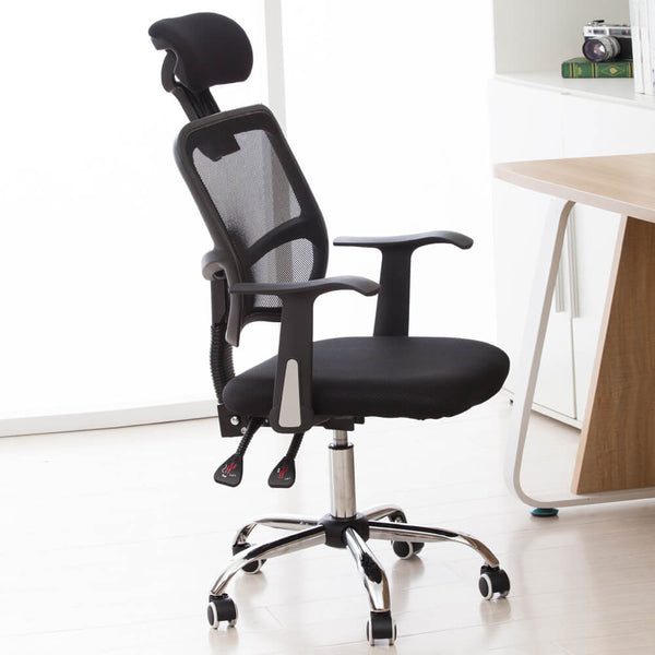 Mesh Back Gas Lift Back Tilt Adjustable Office Swivel Chair Black