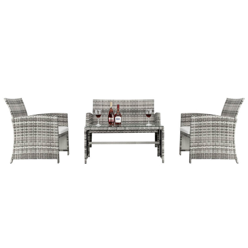 4 Pieces Gray Gradient Pattan Patio Dining Set Combination Sofa With Coffee Table