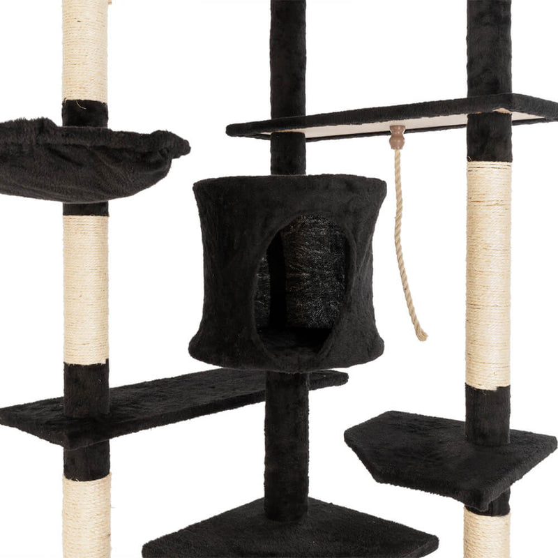 Solid Cute Sisal Rope Plush Cat Climb Tree Cat Tower Black 80 inches