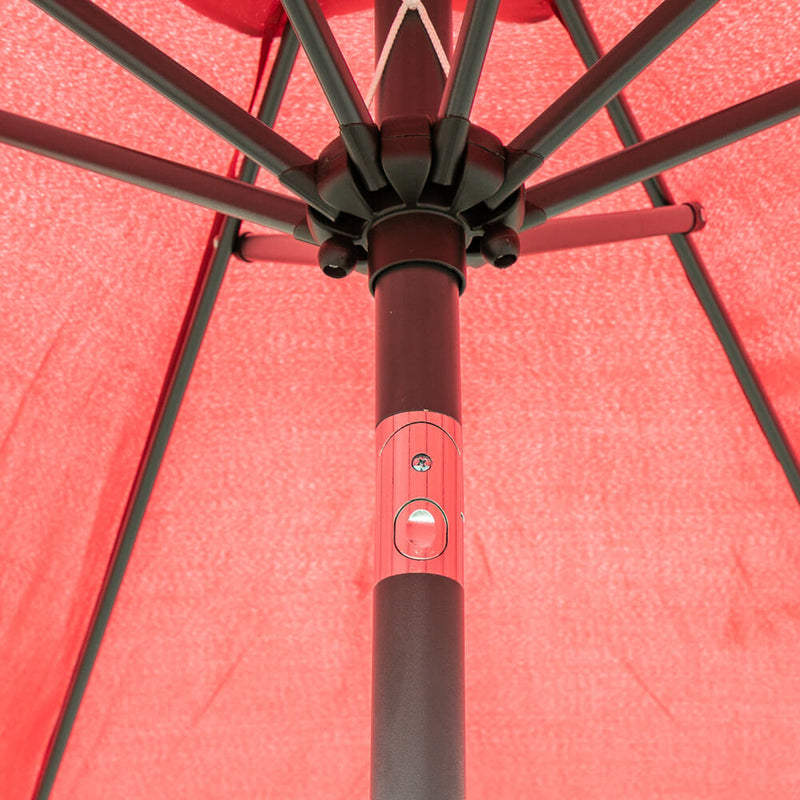 9ft Patio Umbrella Market Umbrellas Large Outdoor Umbrella with Push Button Tilt and Crank, Red