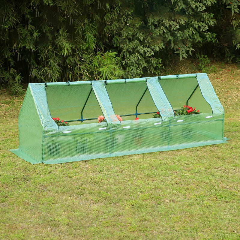 "95""×32""×32"" Portable Mini Greenhouse, Garden Plant Hot House with Zipper Doors for Patio, Home, Backyard, Green"