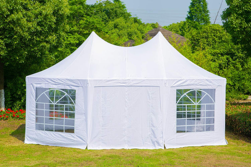 15x20ft Canopy Party Tent Adjustable Removable Sidewalls White Shelter with Carrying Bag for Wedding,Garden