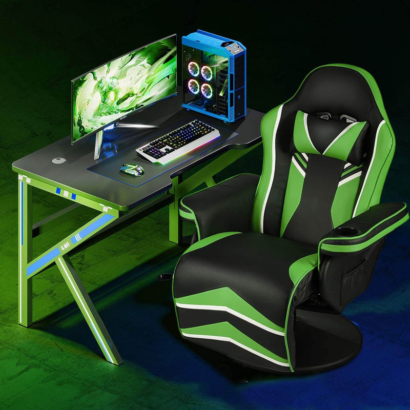 Gaming Chair Recliner Ergonomic Racing Chair with Vibration Massage Adjustable Backrest and Footrest, Swivel Faux Leather Office Chair, Green