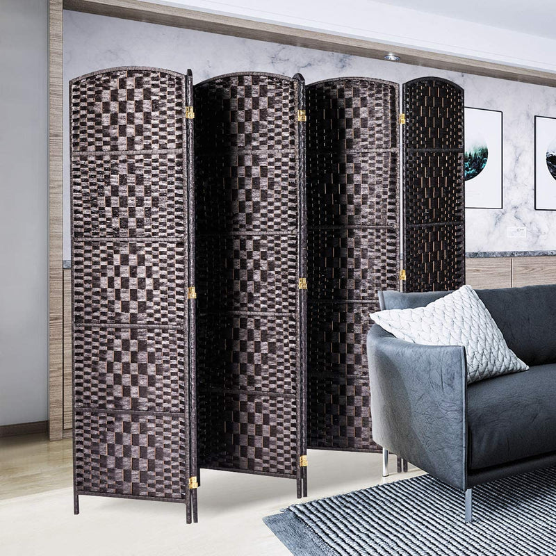 Wooden Room Divider Weave Fiber Room Separator Screen Double Hinged Folding Privacy Screens 6 Panels