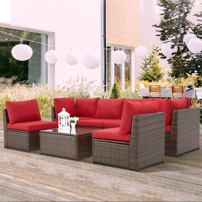 7 Pcs Patio Furniture Set, Wicker Rattan Conversation Sets, Outdoor Sectional Sofa Set, Red Cushion