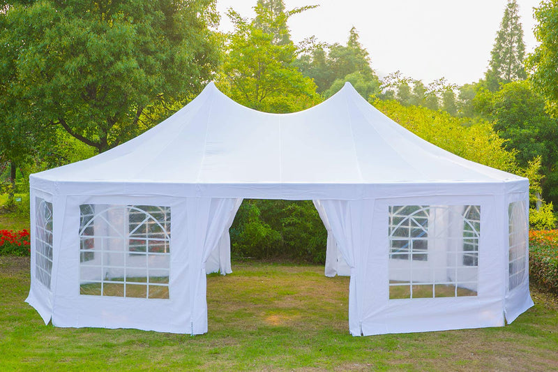 HomHum 10 x 20ft Party Tent Gazebo Pavilion Adjustable Removable Sidewalls White Shelter with Carrying Case Bag for Wedding,Garden (26x19ft)