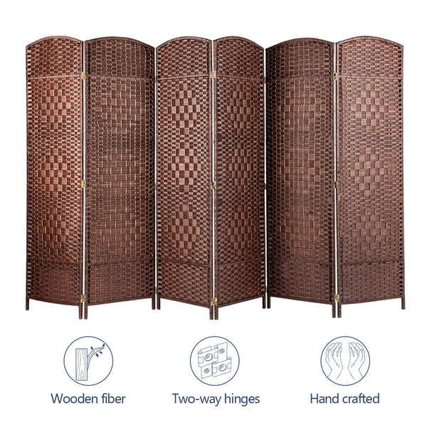 Room Divider Room Separator & Folding partition Screens Weave Fiber 6 FT Brown