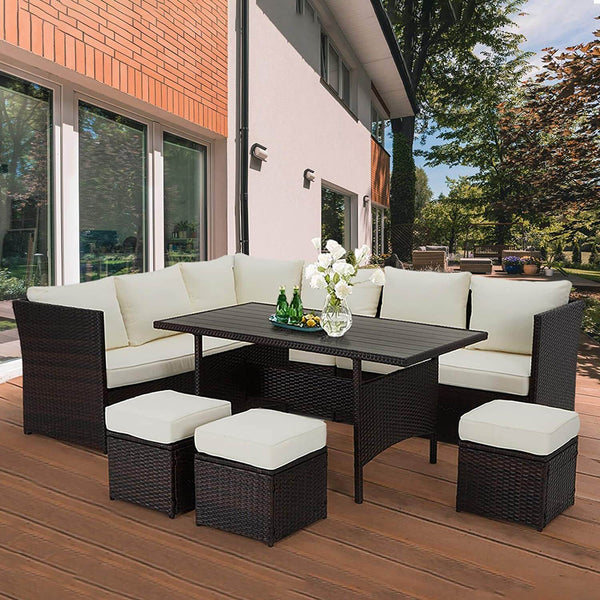 7 Pcs Patio Rattan Sectional Sofa Outdoor Dining Set with Ottoman