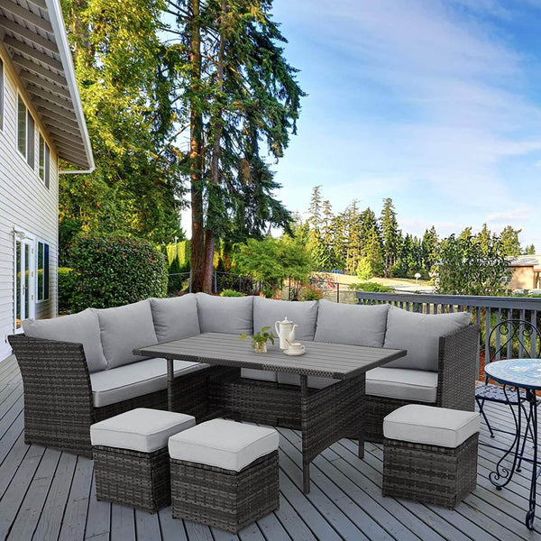7 Pcs Patio Rattan Dining Sets Outdoor Sectional Sofas with Ottoman