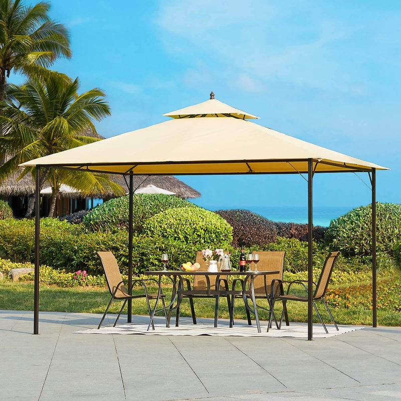 10 x 12 FT Double-Roof Softtop Gazebo Canopy, Outdoor Steel Frame Gazebo Tent for Patio or Deck, Beige