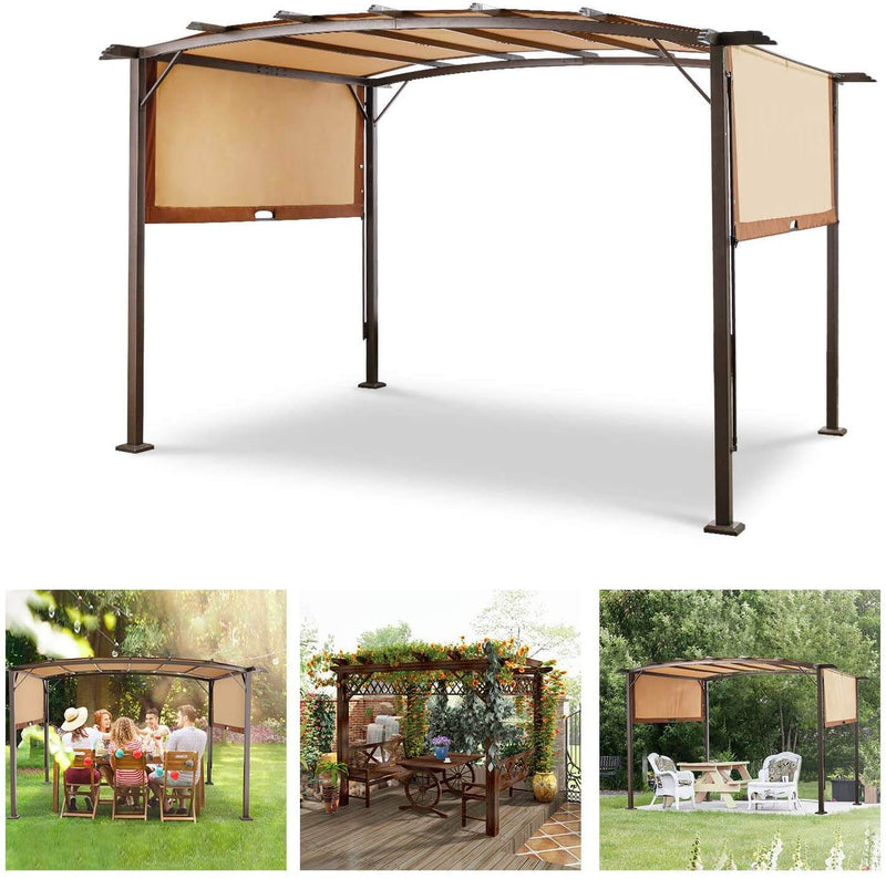 Outdoor Steel Pergola with Retractable Canopy Sun Shades for BBQ, Party, Beach