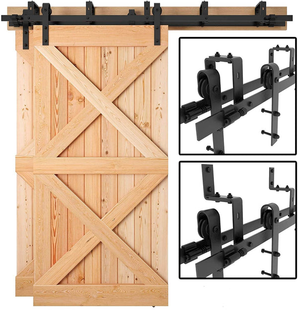 Heavy Duty Bypass Double Door Sliding Barn Door Hardware J Shape Hangers 5-8 FT