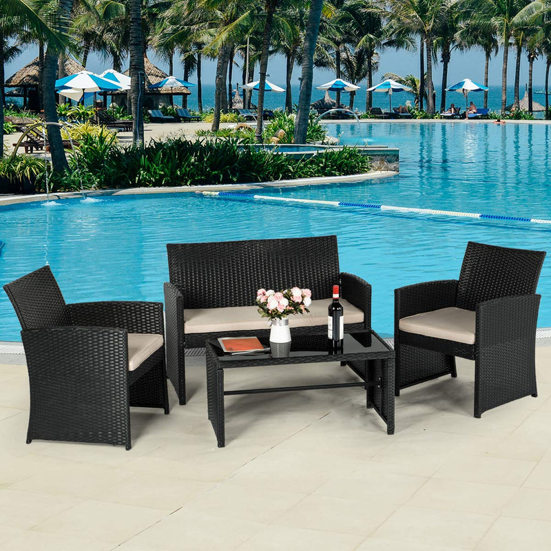 4-Piece Wicker Outdoor Patio Furniture Sets Rattan Patio Conversation Furniture Sets Wicker Chair Set with Cushion for Porch Garden Poolside with Coffee Table, Black