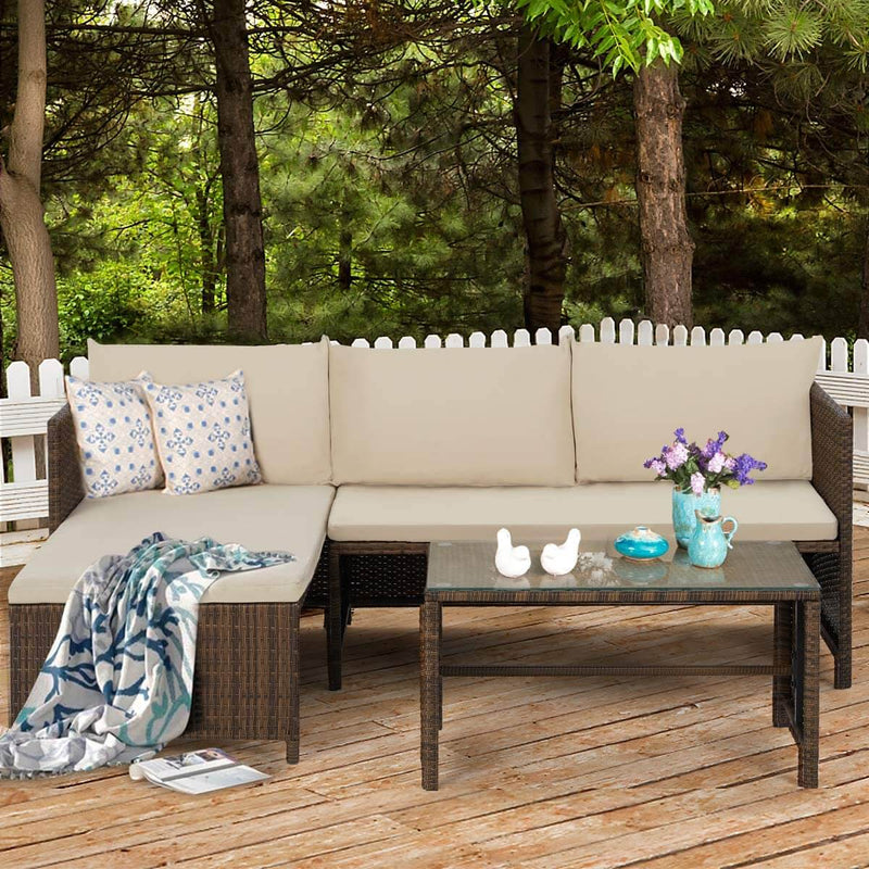 3 Pcs Outdoor Rattan Sofa Set, Patio Garden Furniture Set with Lounge Chaise, Coffee Table, Brown