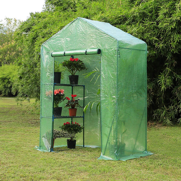 "Walk-in Greenhouse,Indoor Outdoor Plant Gardening, 2 Tier 2 Shelves Hot House for Flowers, Plants and Vegetables 56""x 29"" x 77"" Green"