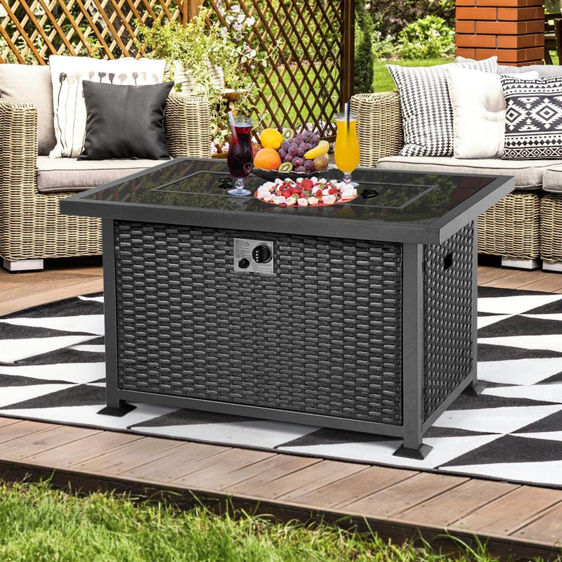 44in Propane Gas Fire Pit Table, Auto-Ignition Gas Firepit with Glass Windguard, Black Tempered Glass Tabletop & Glass Stone, Black Rattan