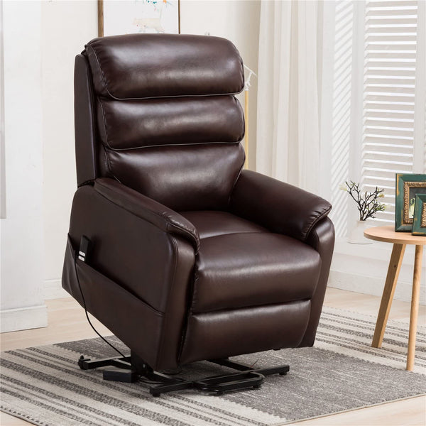 Dual Motor Electric Power Recliner Lift Chair, Linen Fabric Electric Recliner for Elderly, Heated Vibration Massage Sofa with Side Pockets & Remote Control, Red Brown