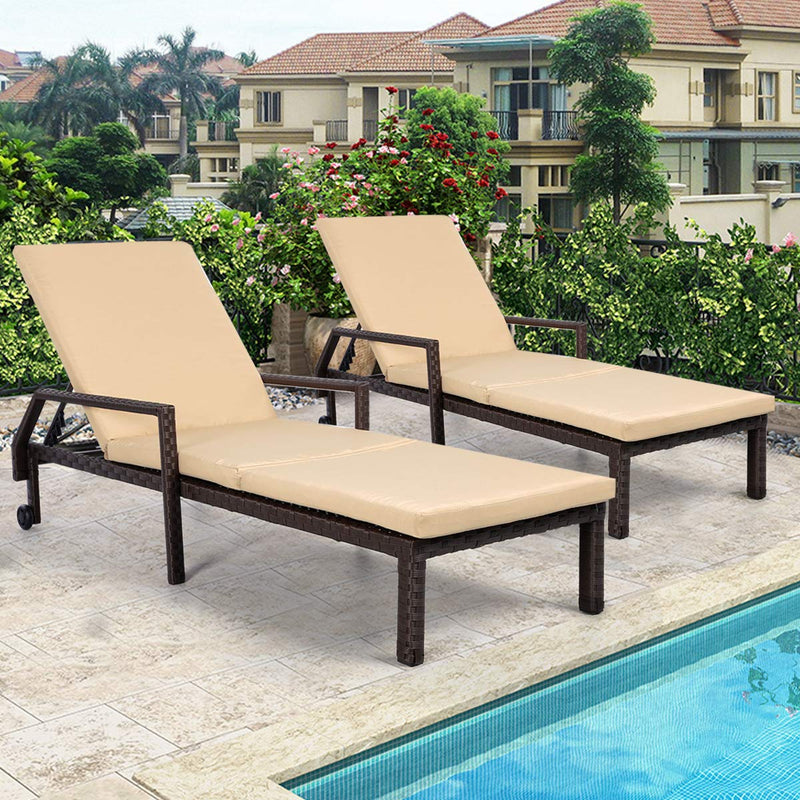 Adjustable Outdoor Chaise Lounge Chair Rattan Wicker Patio Lounge Chair Set of 2 with Cushion and Wheels,Brown