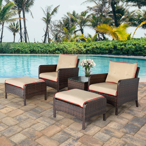 5 Pcs Patio Furniture Set Outdoor Chair and Ottoman Set with Cushions & Side Table PE Wicker Rattan