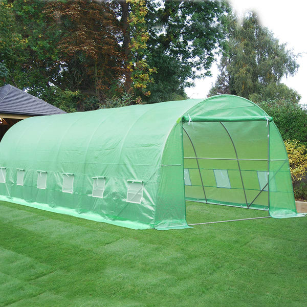 26' x 10' x 7' Large Tunnel Greenhouse, Plant Hot House Walking in Greenhouse, Green