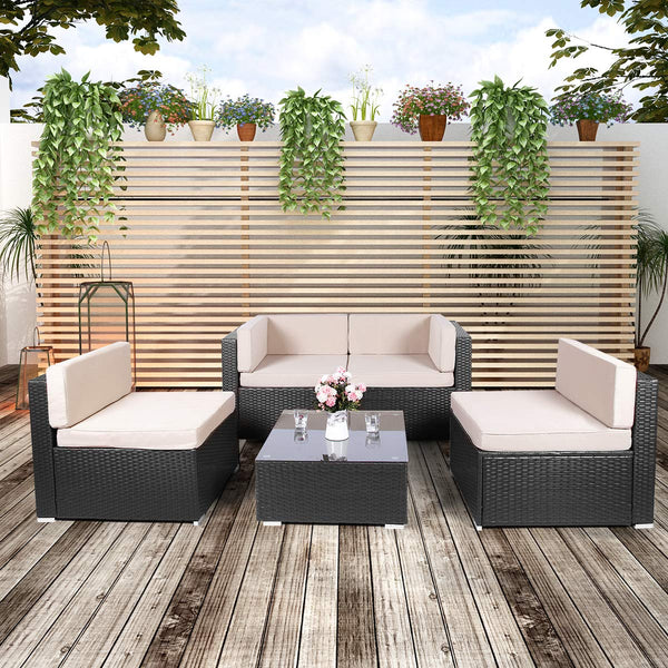 5 Pieces Black Outdoor Rattan Sectional Furniture Chair Set with Cushions and Tea Table