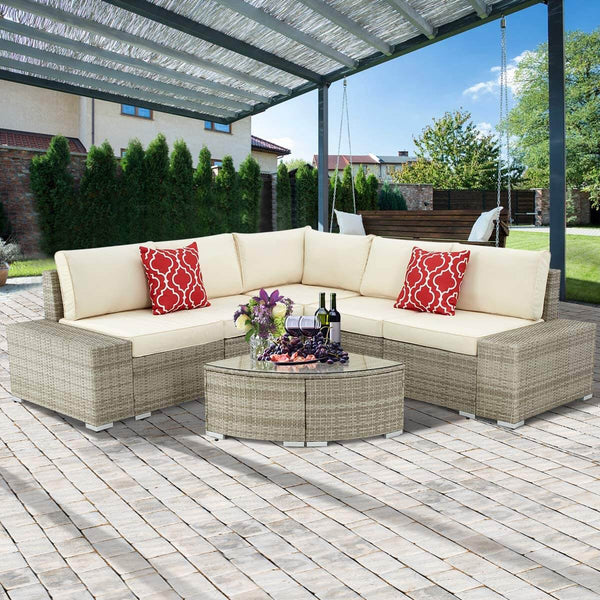 6 Pcs Outdoor Patio Sectional Furniture Set, PE Rattan All Weather Wicker Sofa Set with Cushions Arc-Shaped Table, Gray