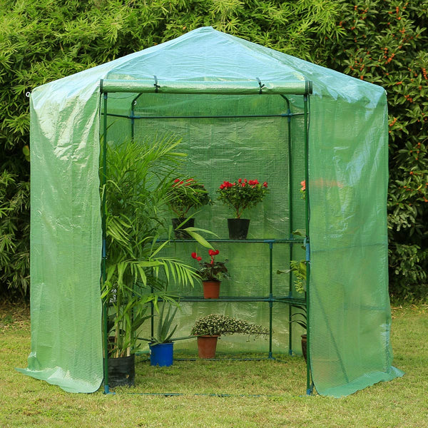 7.5FT Portable Greenhouse 3-Tier Shelf Hexagonal Walk-in Green House Kit, Plant Hot House, Green