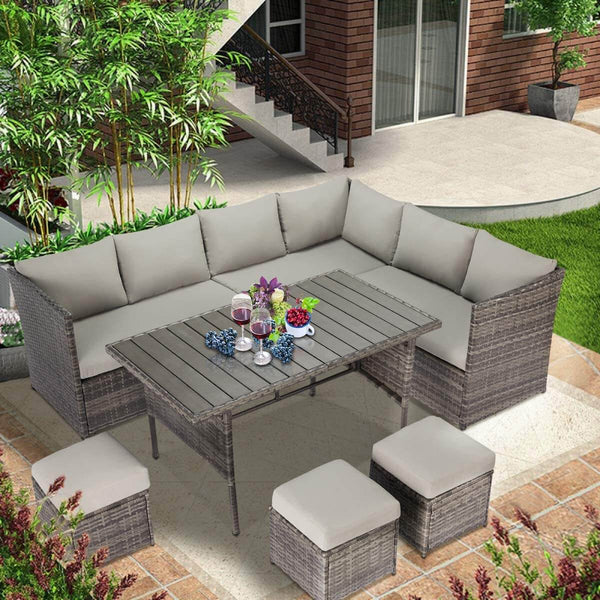 Outdoor Patio Sectional Furniture Set, 7 Pcs Outdoor Conversation Sets, Patio Dining Sets All Weather Wicker Sectional Sofa with Ottoman, Gray