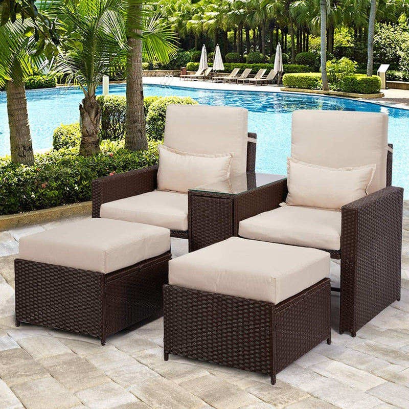 5 Pcs Outdoor Furniture Sets PE Wicker Rattan Chair Recliner with Ottoman and Table