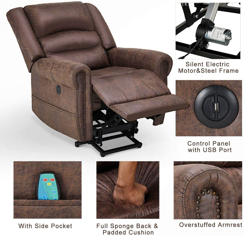 Power Lift Recliner Chair for Elderly, Faux Leather with Rivet Design Electric Recliner Chair with Heated Vibration Massage, Side Pockets & USB Port, Nut Brown