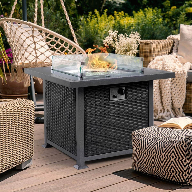 32'' Propane Gas Fire Pits Table, Auto-Ignition Gas Firepit with Glass Wind Guard, Black Tempered Glass Tabletop & Glass Rock, Black PE Rattan