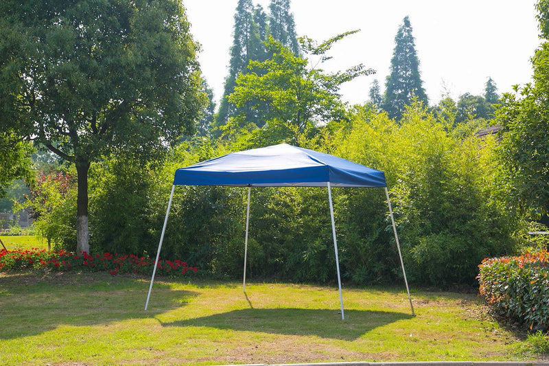 10' x 10' Outdoor Pop Up Canopy Tent, Foldable Portable Sun Shelter, Blue