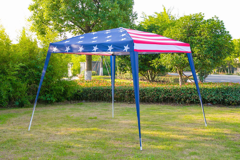Folding Canopy Tent Portable Shelter with Carry Bag 10×10ft, Stars-and-Stripes