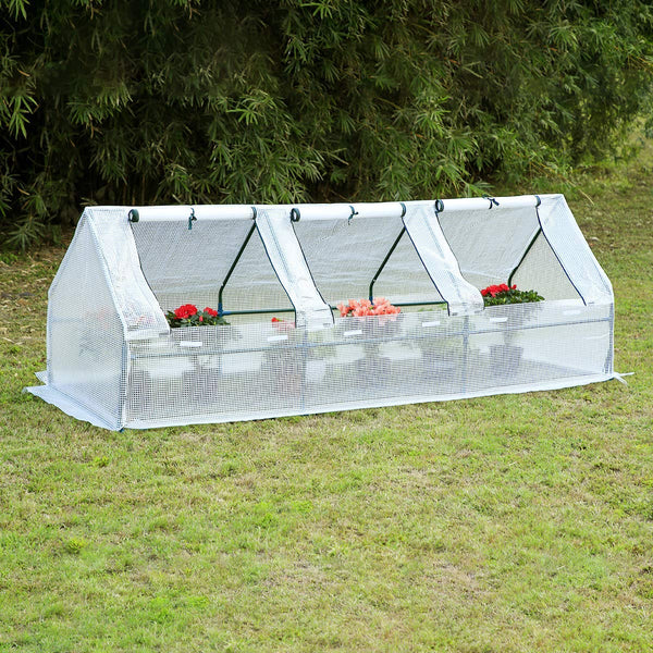"95""× 32""× 32"" Portable Mini Greenhouse, Garden Plant Hot House with Zipper Doors for Patio, Home, Backyard, White"