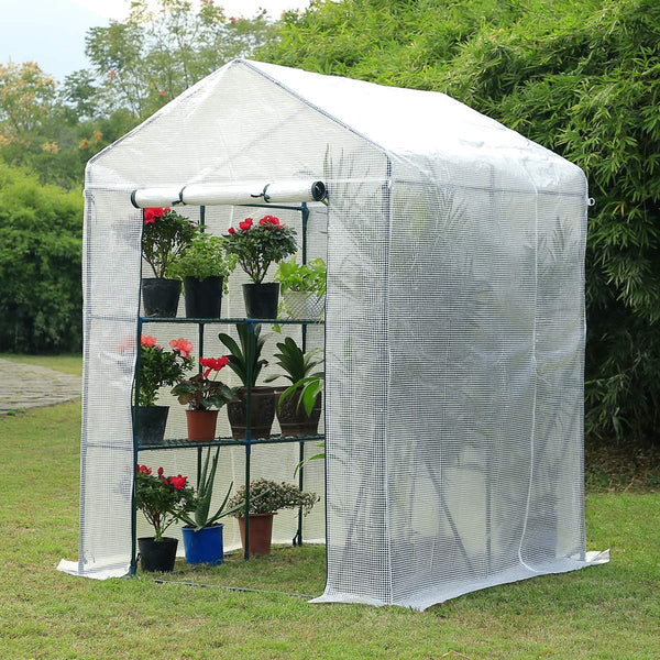 "Walk-in Greenhouse, Indoor Outdoor Plant Gardening, 2 Tier 4 Shelves Hot House for Flowers, Plants and Vegetables 56""x 56"" x 77"" White"