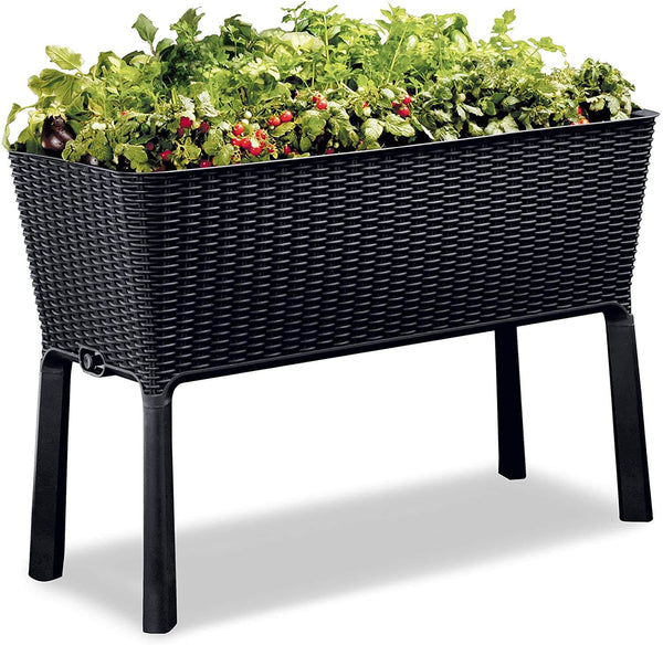 31.7 Gallon Raised Garden Bed with Self Watering Planter Box and Drainage Plug, Graphite