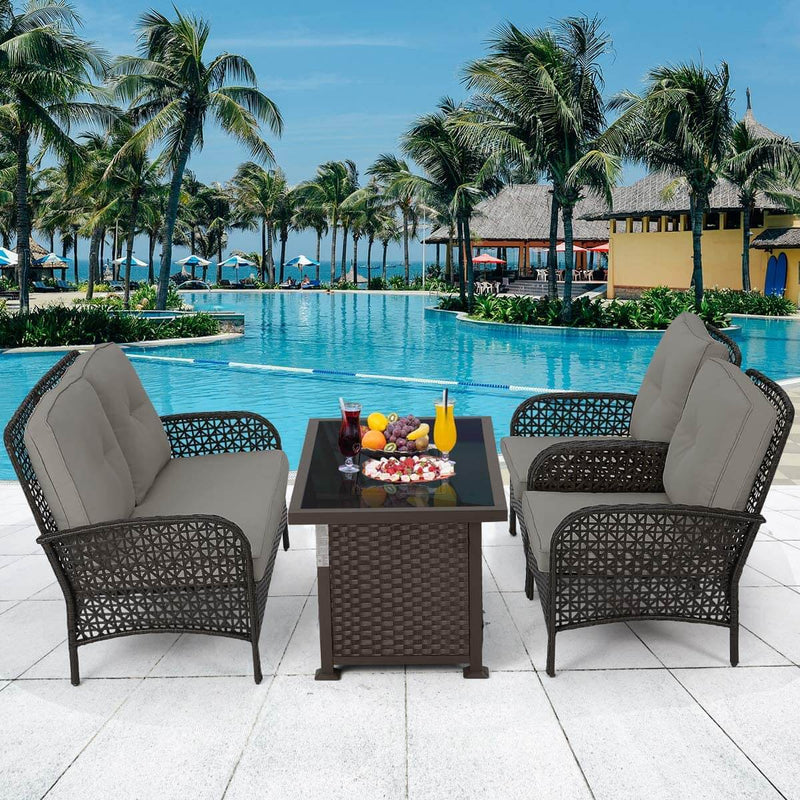 4 Pcs Outdoor Patio Furniture Sets Rattan Sofa Chair Wicker Set, Deck Furniture Set with Firepit Table, Brown