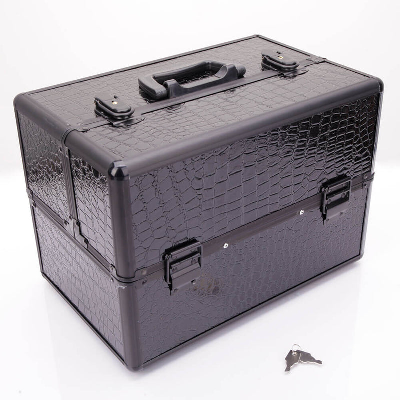 High-end Portable Foldable Inner Layers Cosmetics Storage Case Black