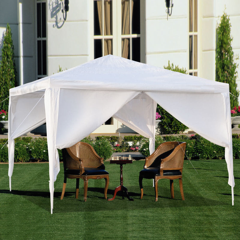 Portable Waterproof Canopy Tent Four Sides with Spiral Tubes White, 10 x 10 ft
