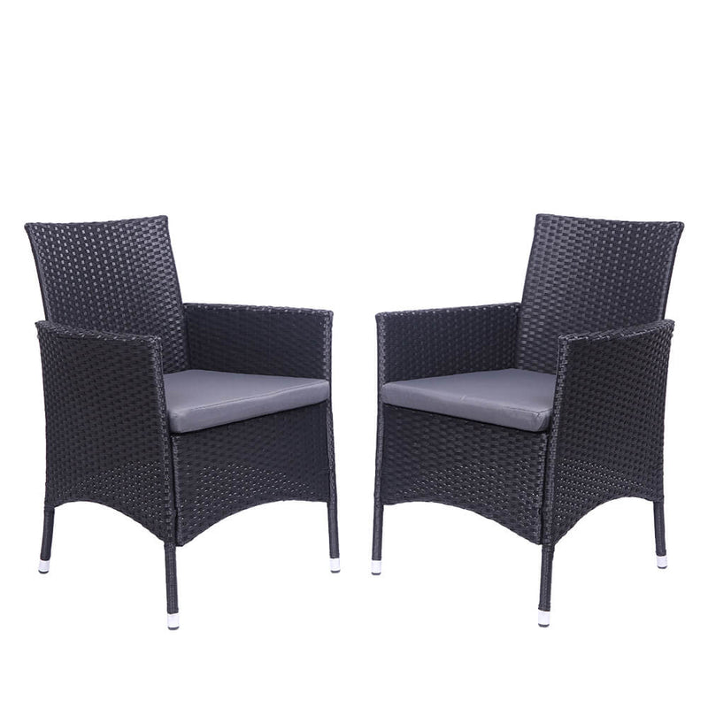 2-Piece Single Backrest Patio Dining Chairs, Rattan Sofa Conversation Set with Cushions, Black