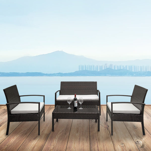 4 Pcs Outdoor Conversation Set Patio Dining Set Rattan Sofa Set, Brown Gradient