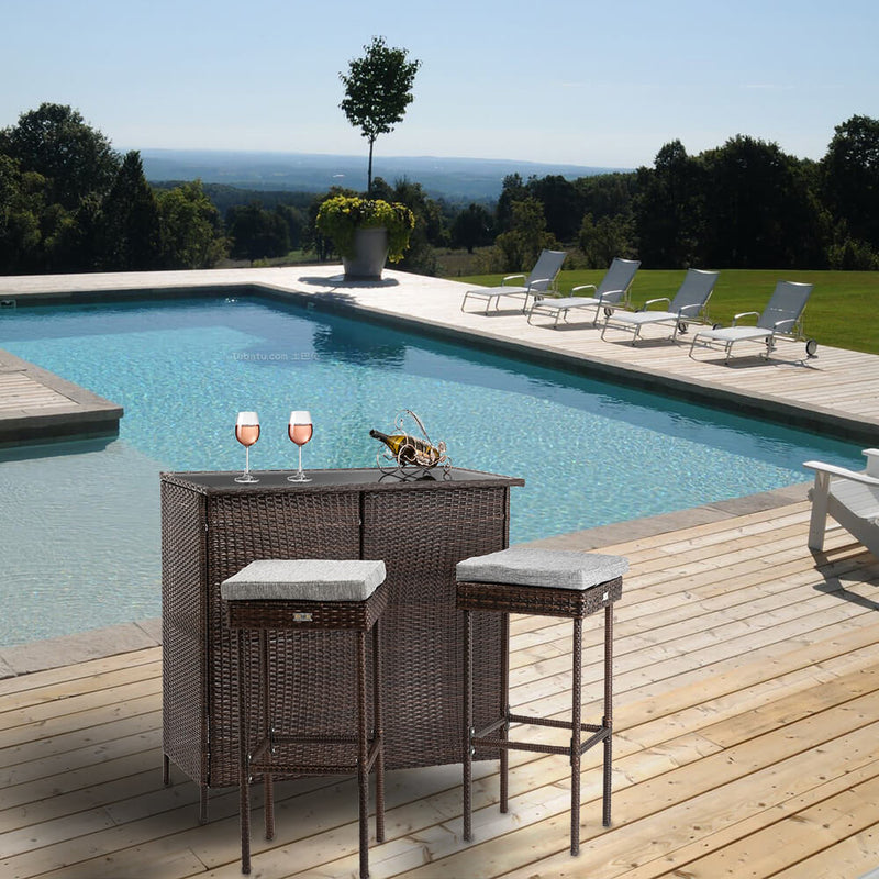 Outdoor 3 Pieces Brown Wicker Bar Set Glass Bar and Two Stools with Cushions