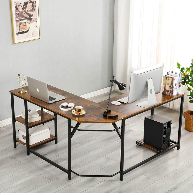 L-Shaped Computer Desk with Storage Shelves,Home Office Workstation Office Retro